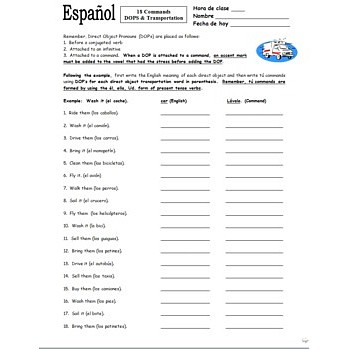 Printables 9th Grade Spanish Worksheets spanish informal tu commands transportation worksheet 1