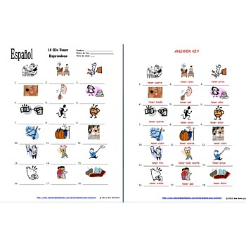 Tener Expressions 18 Picture IDs Worksheet