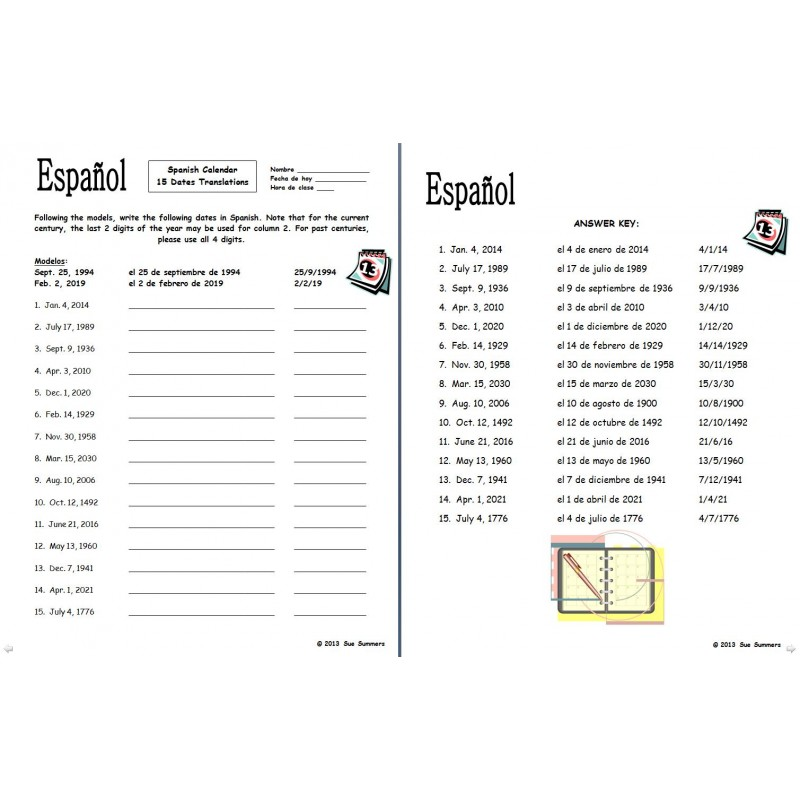 Printables Spanish Calendar Worksheets 15 dates translations calendar sue summers jpg spanish bundle days of the week months and seasons