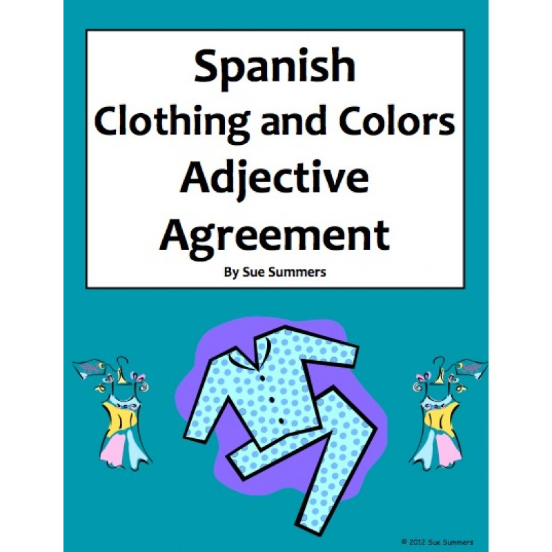 Spanish Clothing And Colors Worksheet Noun And Adjective Agreement