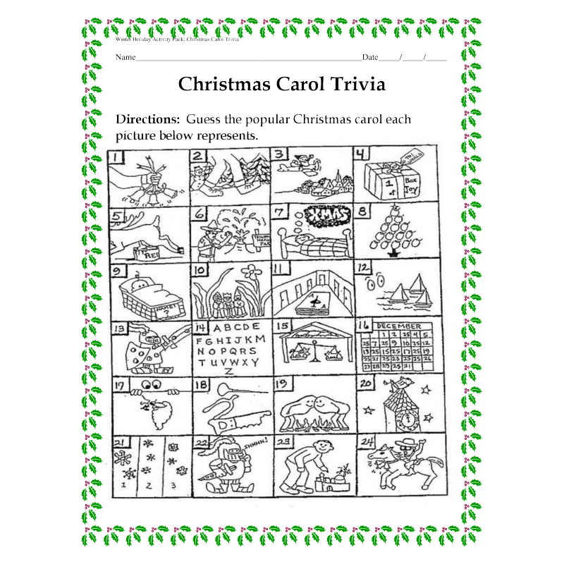 Holiday Activity Pack - Guess the Christmas Carol Trivia Game