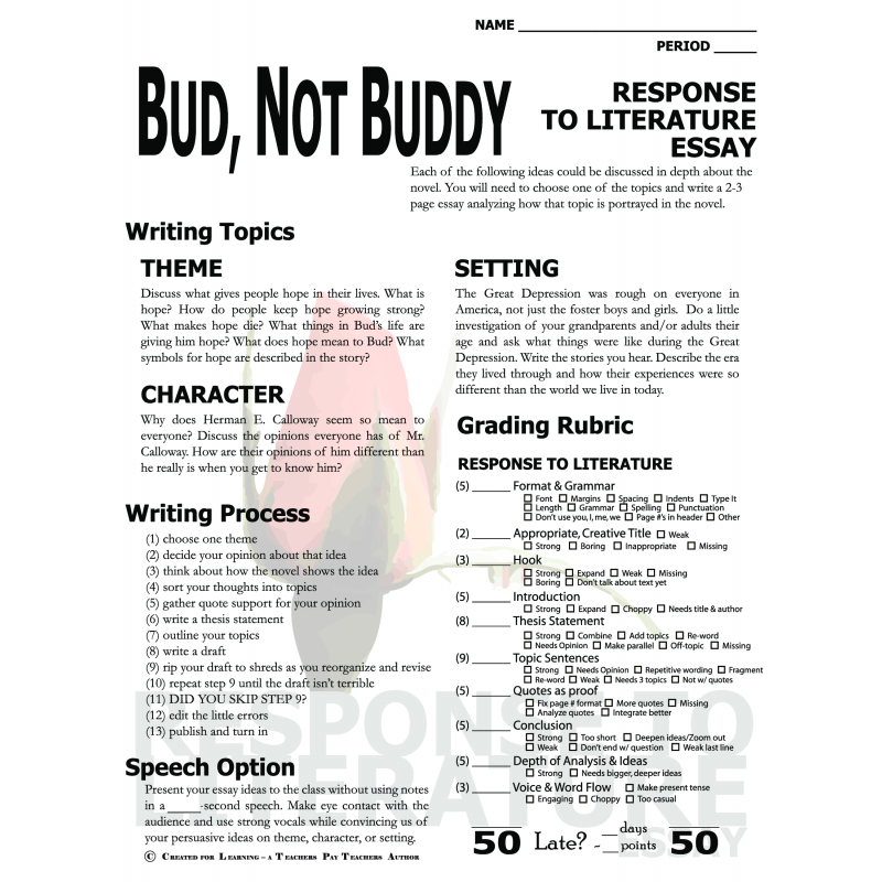 bud not buddy book report essay Bud not buddy book report essay - professional and affordable paper to ease your life composing a custom essay means go through lots of stages receive an a+ help even.