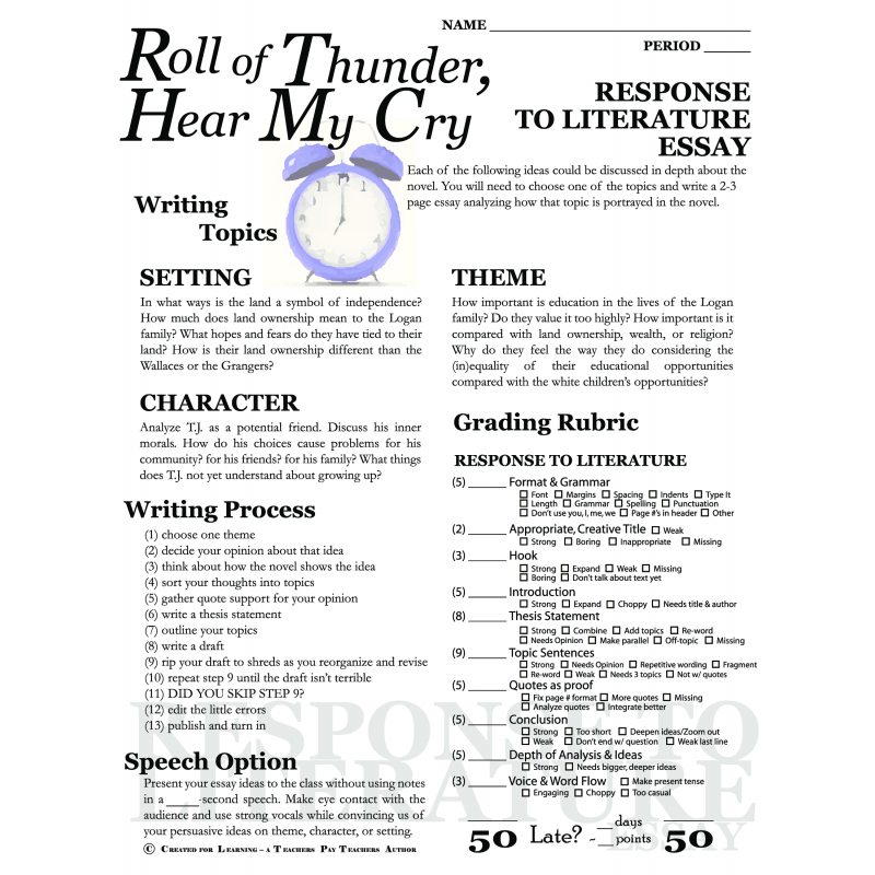 roll of thunder hear my cry essay plan The roll of thunder, hear my cry lesson plan is designed to help teachers and educators plan classroom activities and instruction.