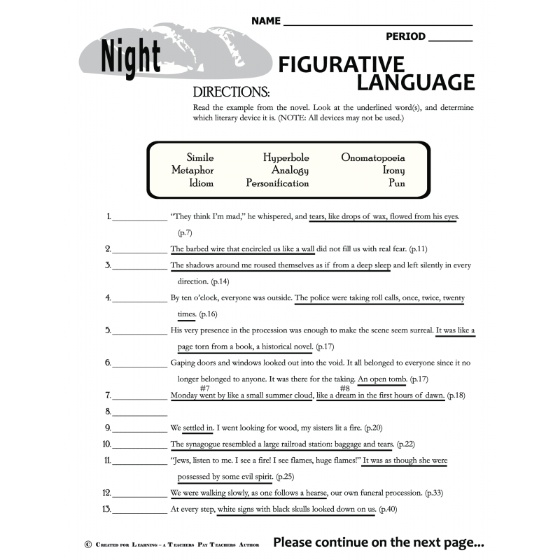 types of figurative language worksheet calleveryonedaveday. Black Bedroom Furniture Sets. Home Design Ideas
