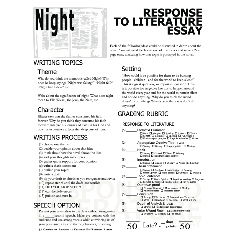 the use of literary techniques in elie wiesels night essay Night is a literary memoir of elie wiesel's tenure in the  in the novel night, by elie wiesel, elie went  this essay will be focusing on how.