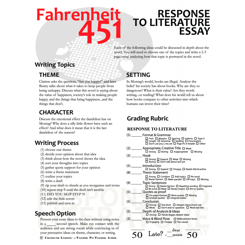 research papers fahrenheit 451 happiness Read this essay on ray bradbury research paper research paper the short novel fahrenheit 451 by ray bradbury life or the ideas of happiness.