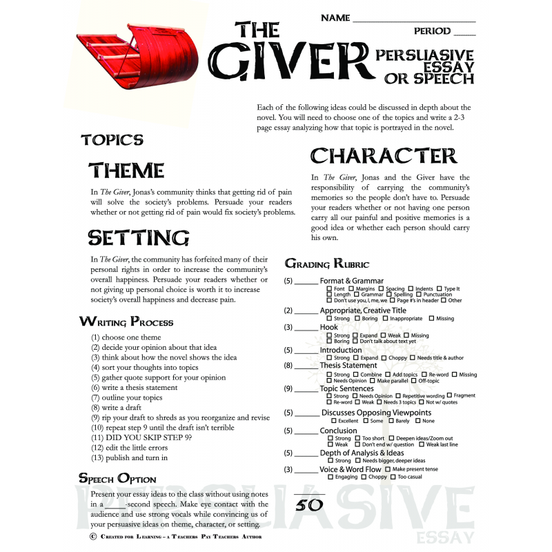 persuasive essay the giver Persuade me about the giver essay directions: you will write a persuasive  essay using the following directions: 1 select one (1) of the.
