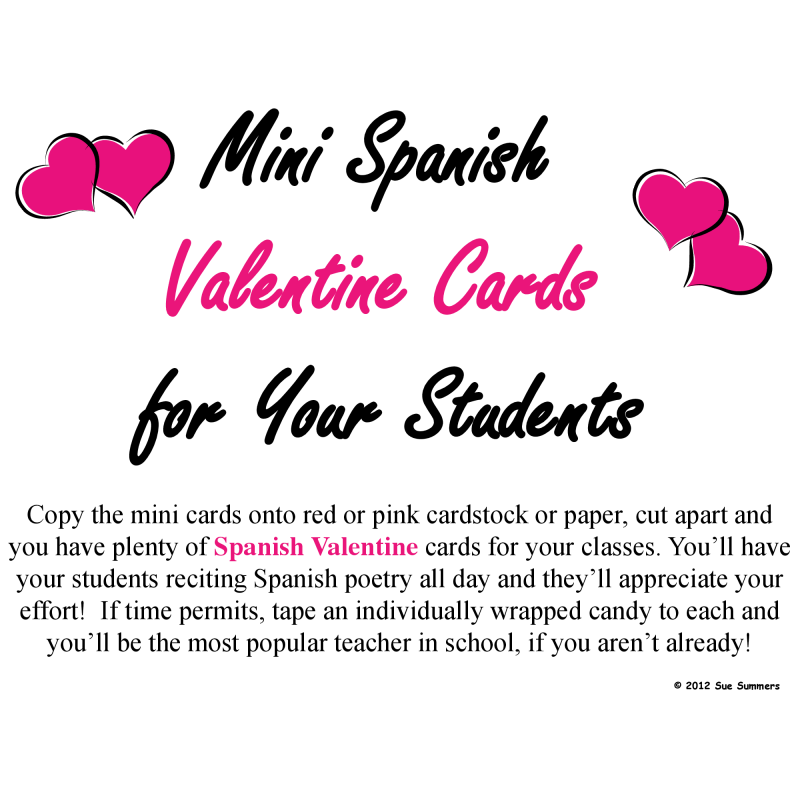Spanish Valentineu0027s Day Poem Teacher To Student Mini Card