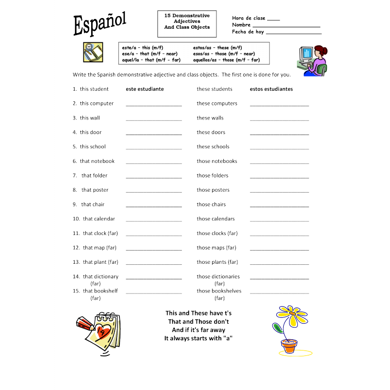 Spanish Demonstrative Adjectives and Class Objects Worksheet