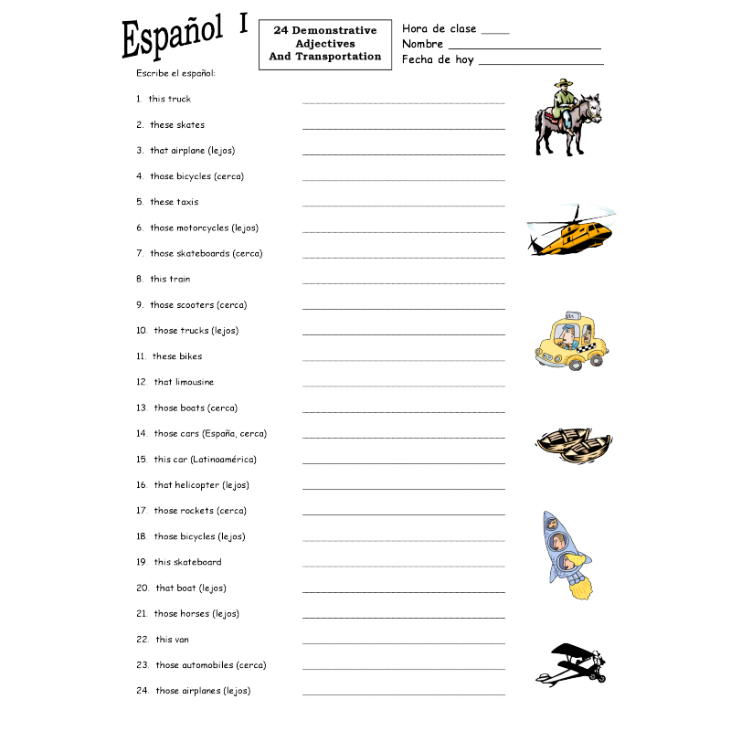 Spanish Demonstrative Adjectives & Transport Worksheet #1 & Answer Key