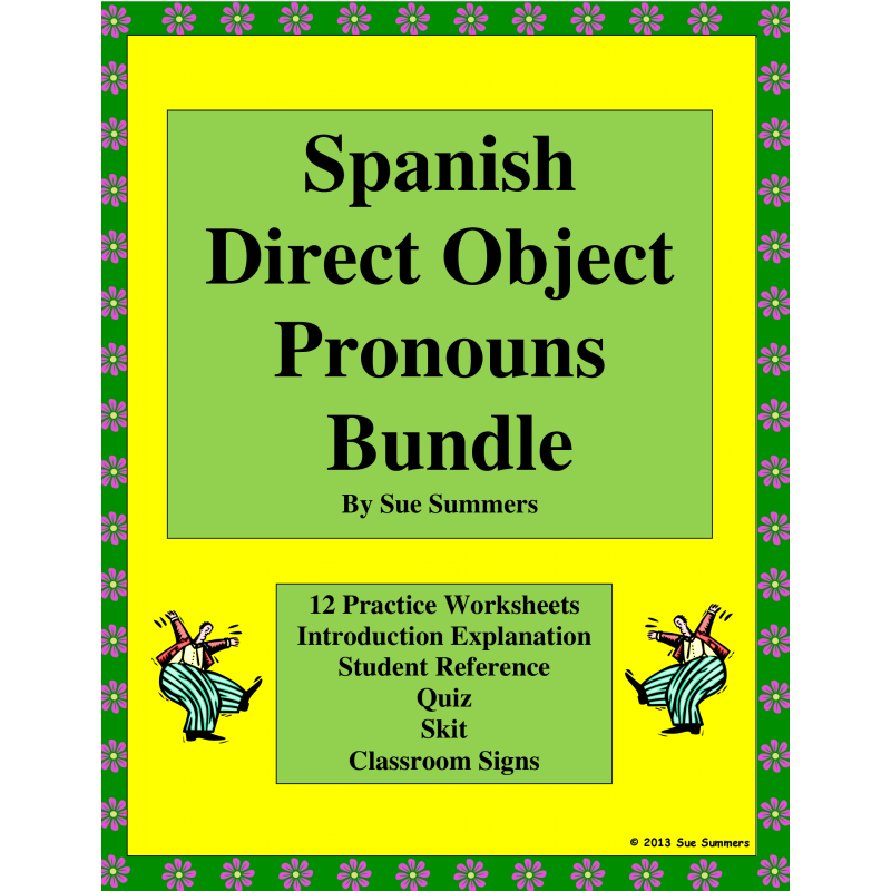 Direct Object Pronouns Bundle Practice Skit Quiz More – Direct Object Pronouns Spanish Worksheet