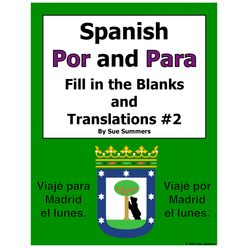 Por and Para Fill in the Blanks and Translations Worksheet 2 – Por and Para Worksheet