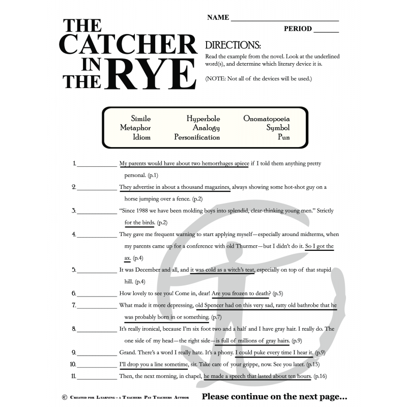 Printables Catcher In The Rye Worksheets 541afab3a7245 png catcher in the rye figurative language bundle