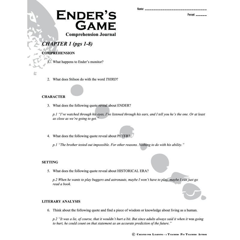 enders game 4 essay Ender ˇs game essay responses day 1, pp ix-26 choose either prompt 1 explain what it means for ender to born a ˝third ˛ show whether this is a negative or positive.