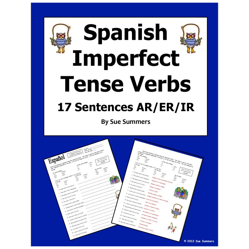 Spanish Imperfect Tense Verbs Worksheet - 17 Sentences