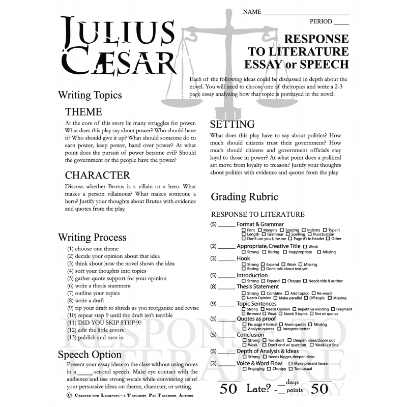 julius caesar 4 essay In the preparations for the assassination of caesar, brutus defies cassius's view  that  putting julius caesar in context: a summary of sources.