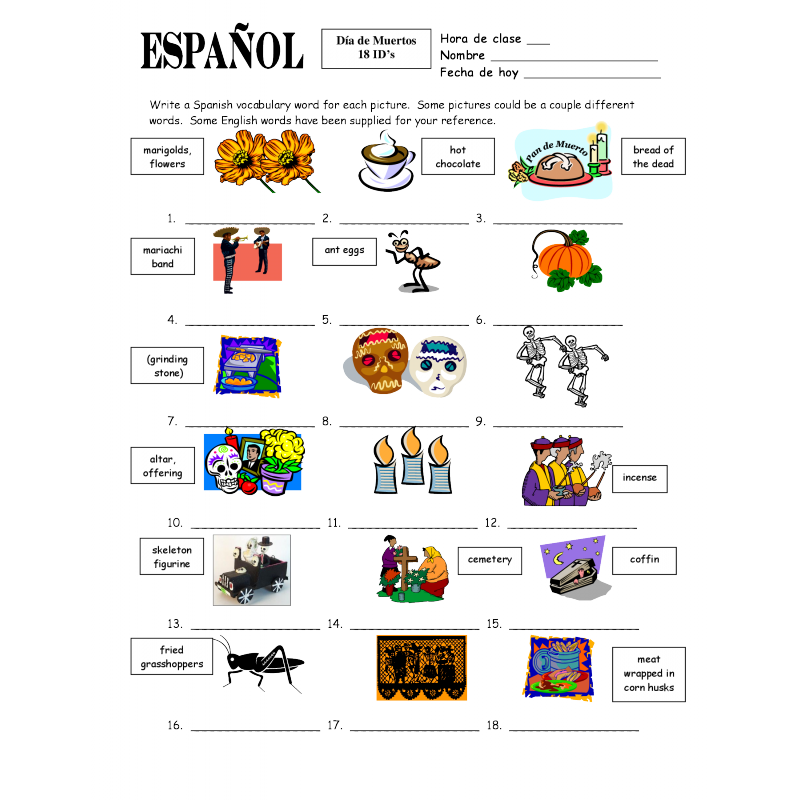 of the Dead Vocabulary 18 IDs Worksheet and Vocabulary List – Dia De Los Muertos Worksheets