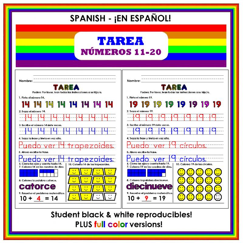 Numeros 11-20 (Homework: Numbers 11-20 in Spanish)