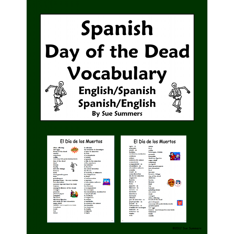 Day of the Dead Vocabulary Reference - Dia de los Muertos