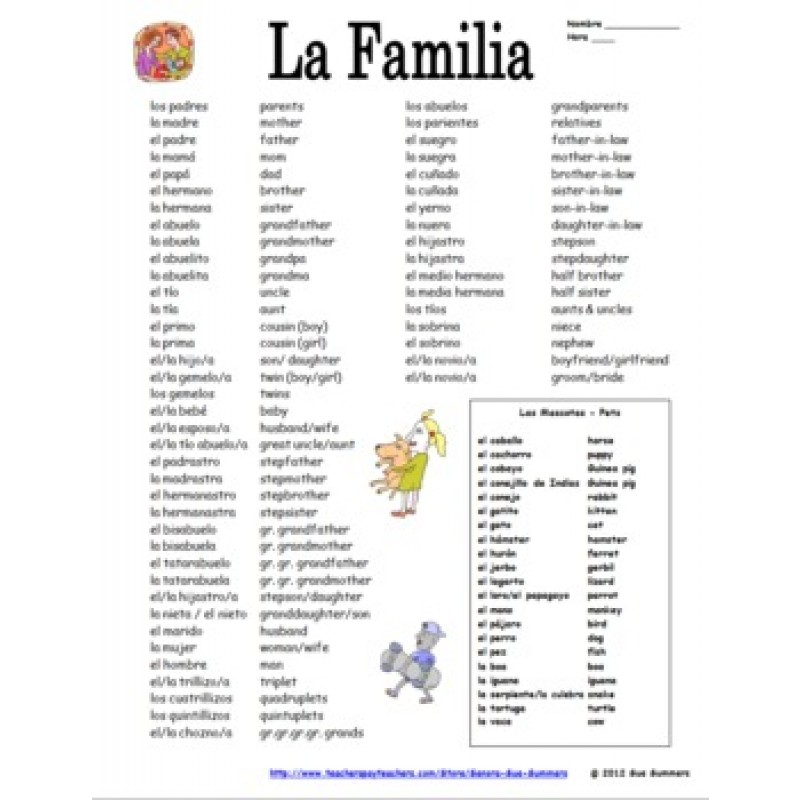 Spanish Family u0026 Pets Vocabulary Reference - 75 + Words!