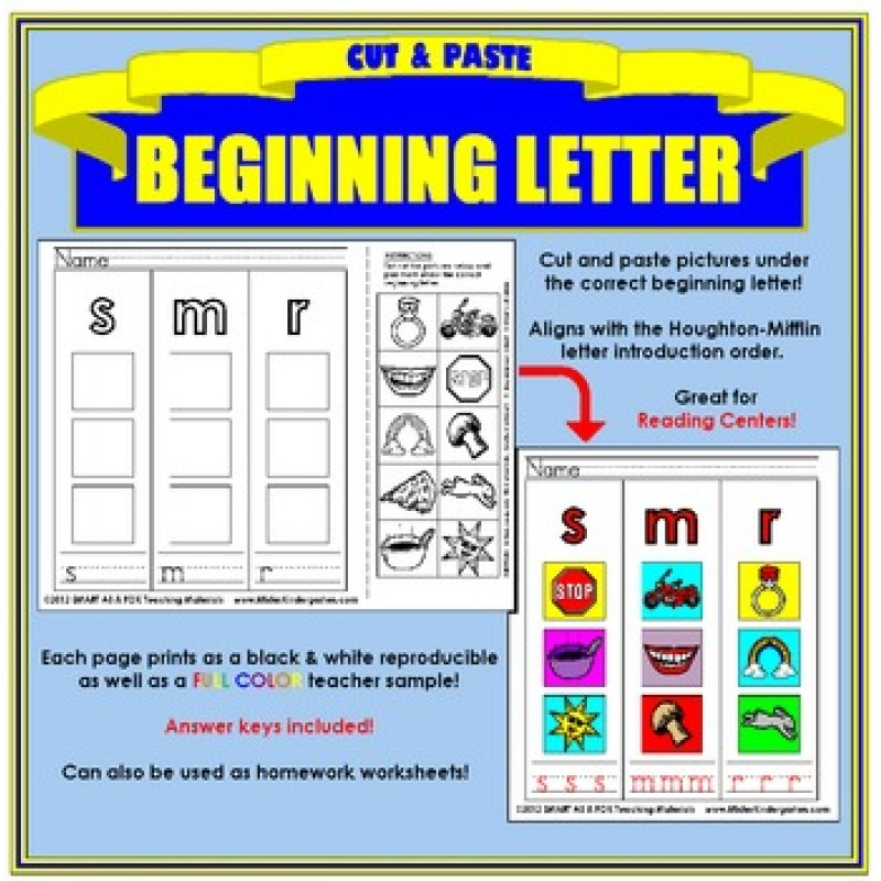 Cut And Paste Beginning Letter Sound