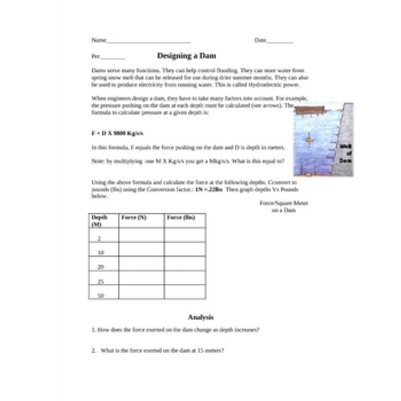 Pressure Dam Worksheet graphing – Graphing Worksheet