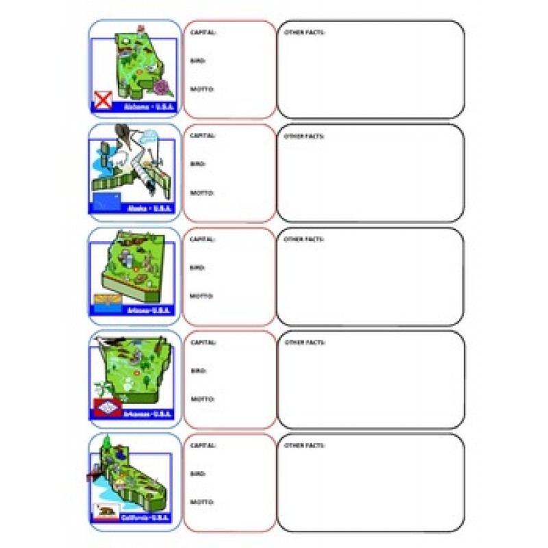 states foldable flash cards or worksheets capitals birds flags – Or Worksheets