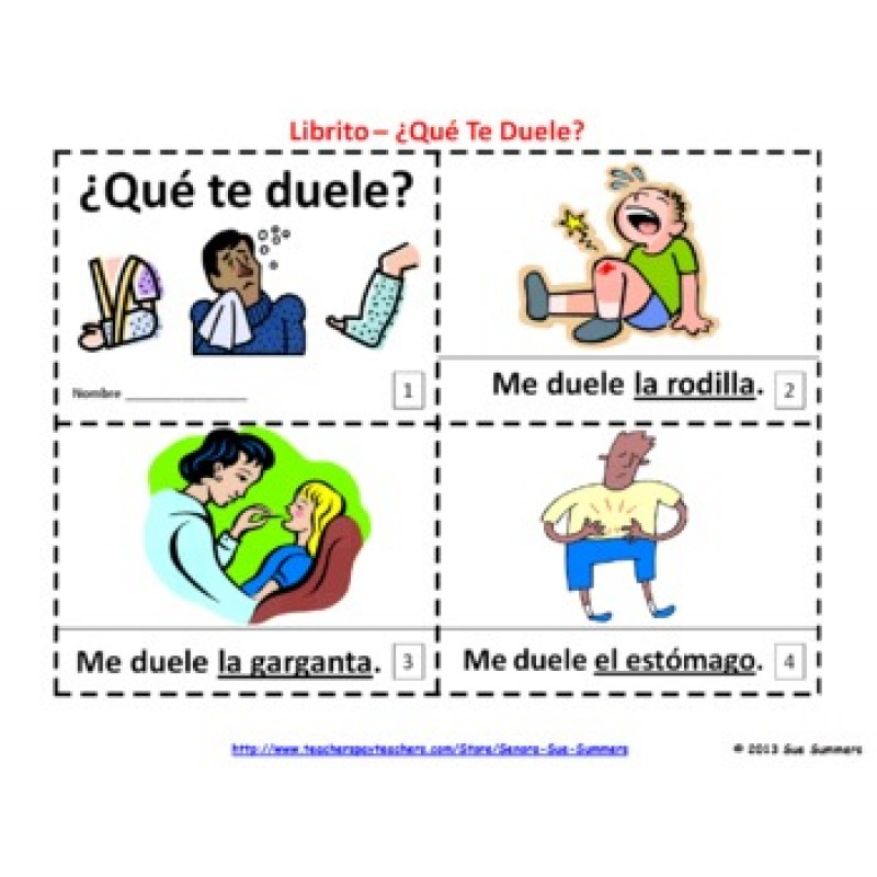 Home Spanish Body Parts Que Te Duele - Me Duele Booklets