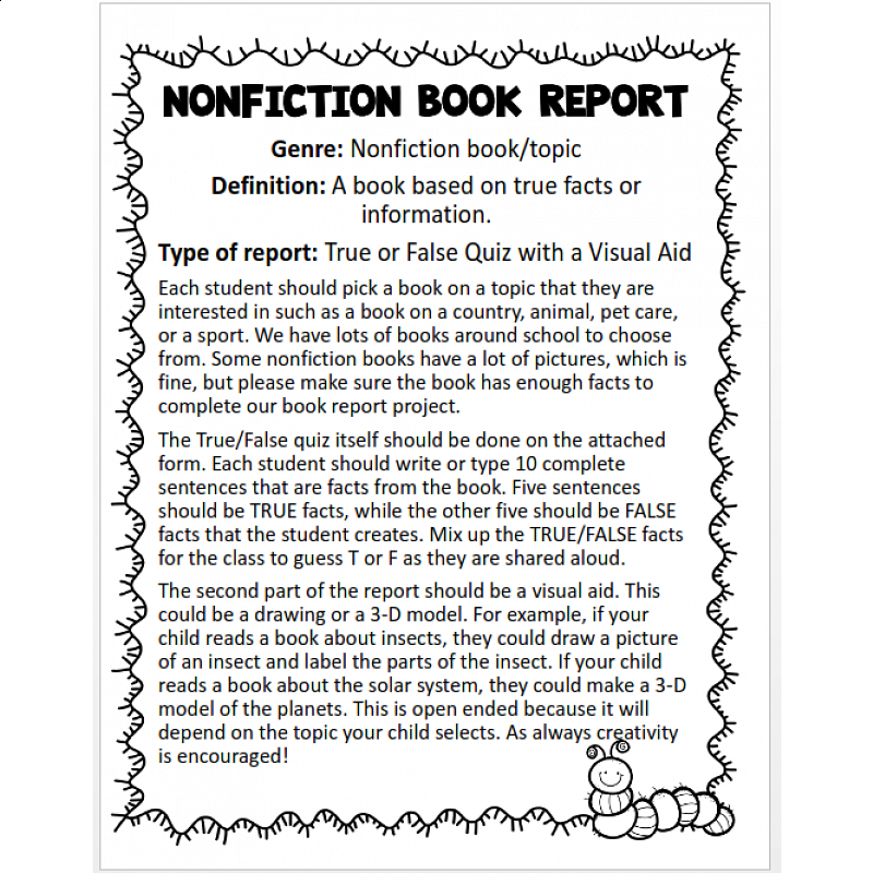 5th grade nonfiction book report