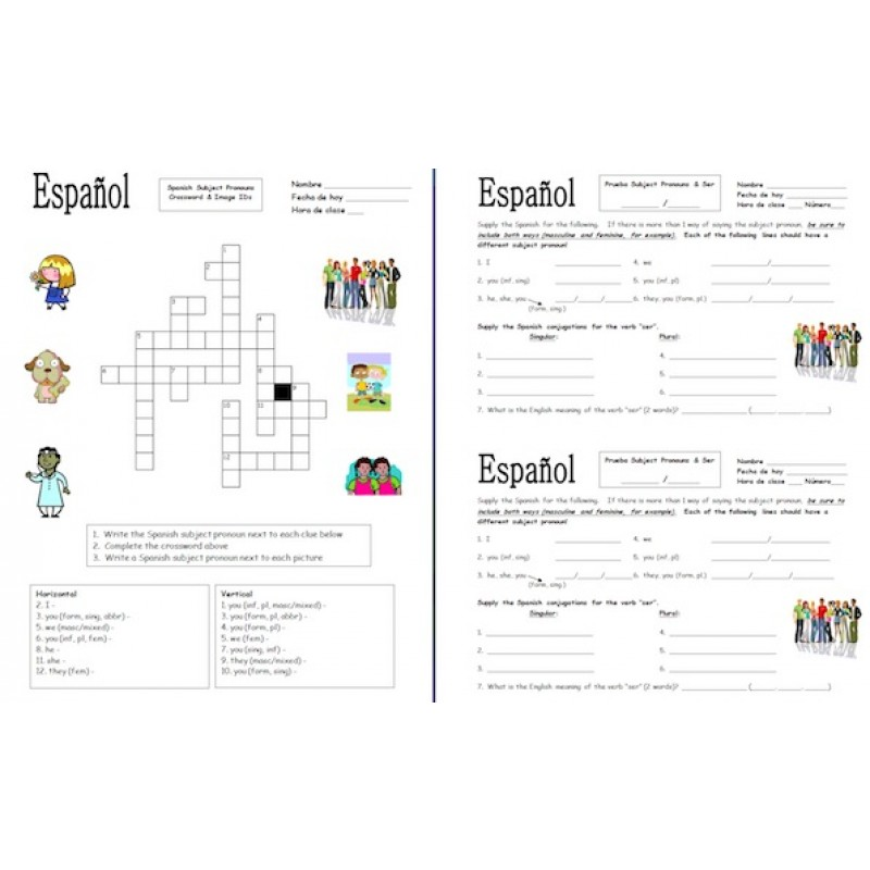 Subject Pronouns Bundle Practice Quiz Skit Intro and More – Subject Pronouns in Spanish Worksheet