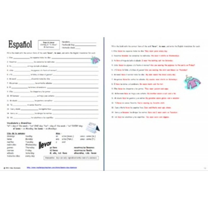 Clothing Llevar and Days of the Week Sentences Worksheet – Spanish Days of the Week Worksheet