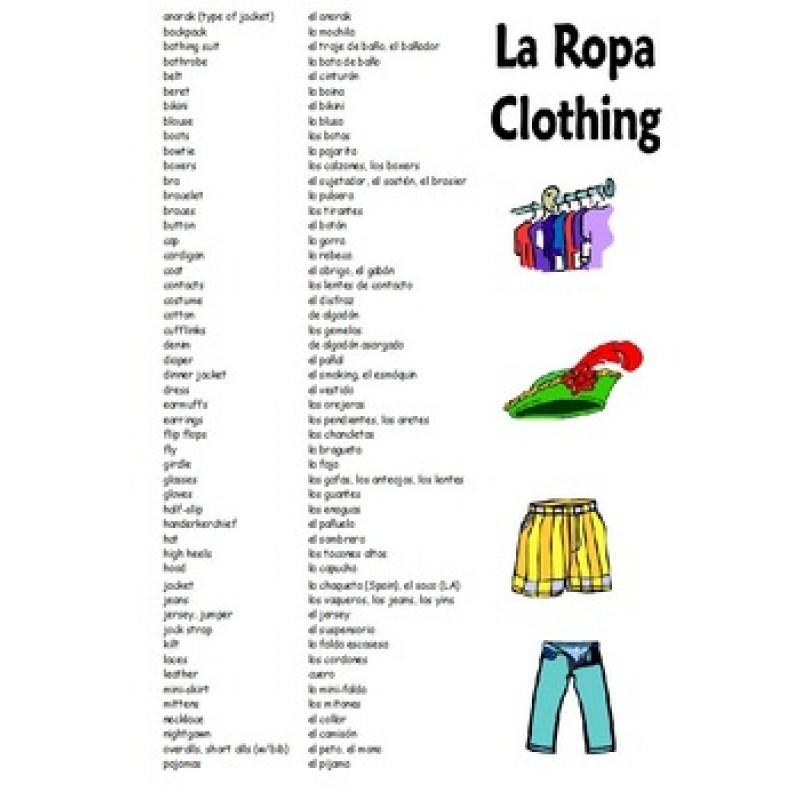 clothing vocabulary reference bilingual
