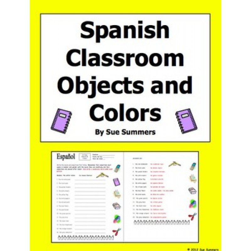 Classroom Objects and Colors Worksheet and Image IDs – Classroom Objects in Spanish Worksheet