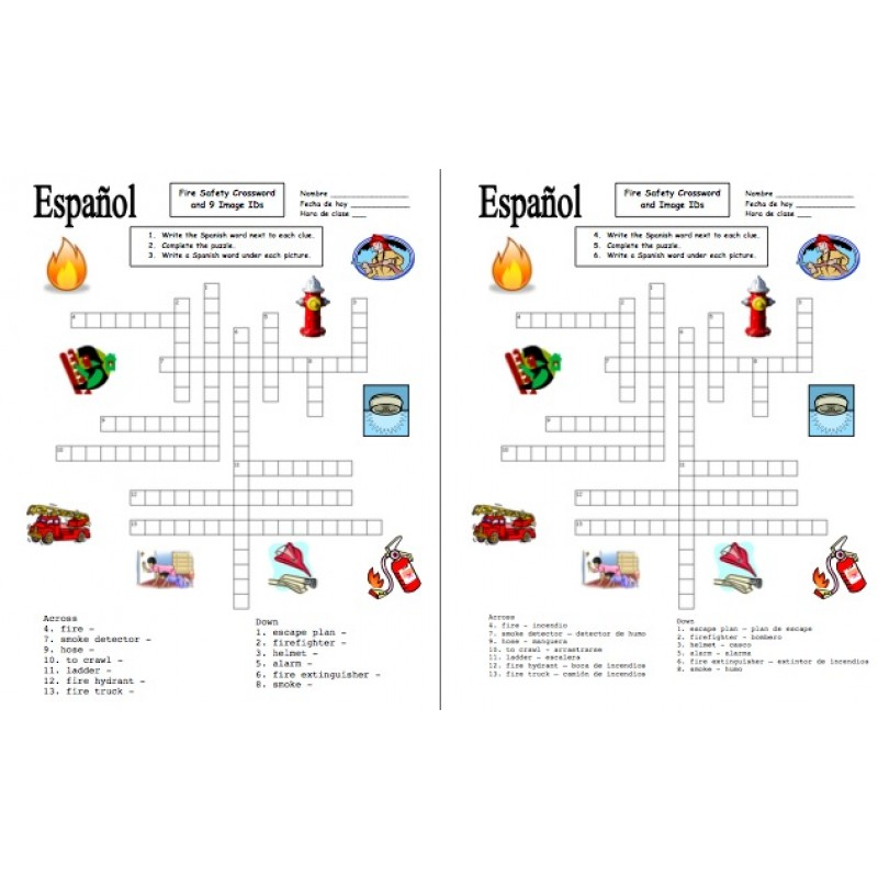 Fire Safety Crossword Puzzle and Image IDs