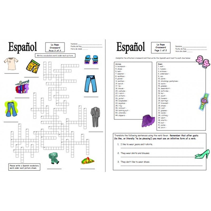 Clothing Unit Vocabulary Skits and Worksheets 42 Pages – La Ropa Worksheet