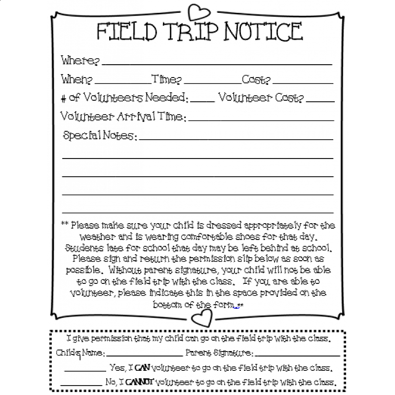 Classroom Field Trip Permission Slip