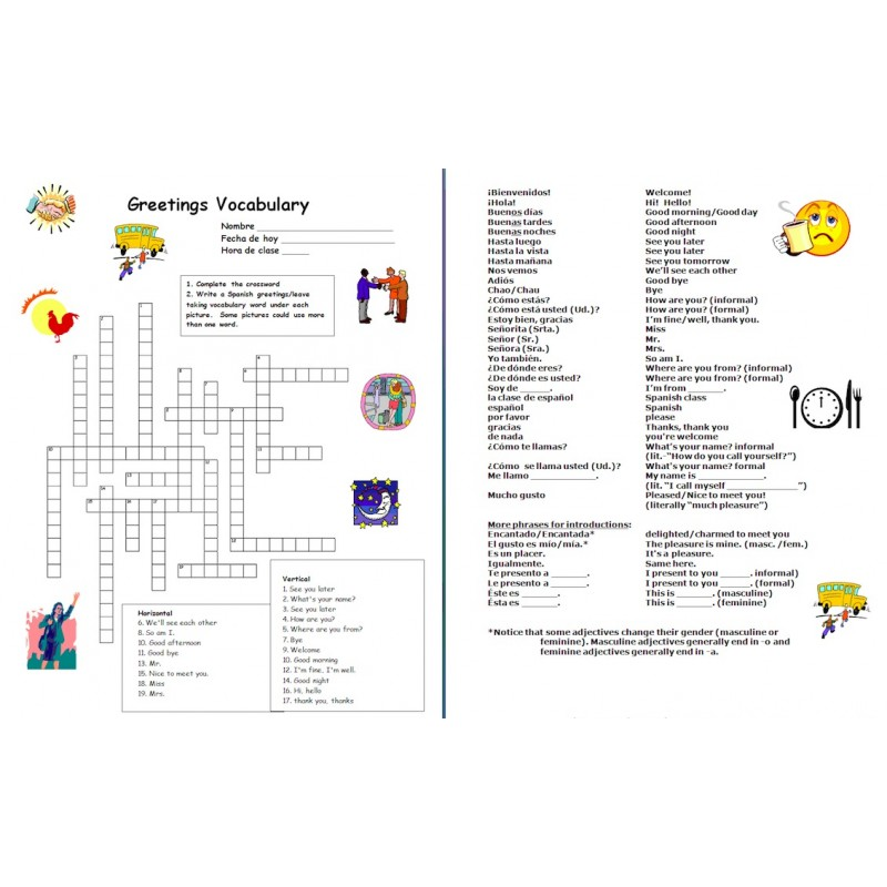 Greetings and Basics Spanish Crossword Worksheet and Vocabulary List – Spanish Greetings Worksheet