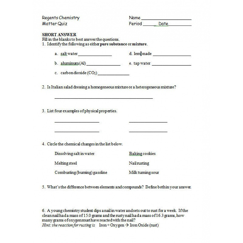 Science worksheets for 8th grade chemistry