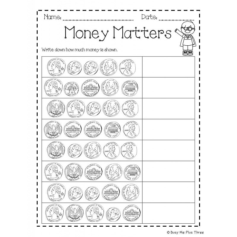Money Book Coins and Dollar Kindergarten First Grade – Coin Worksheets for Kindergarten
