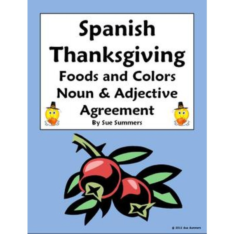 Spanish Thanksgiving Foods Colors Practice With