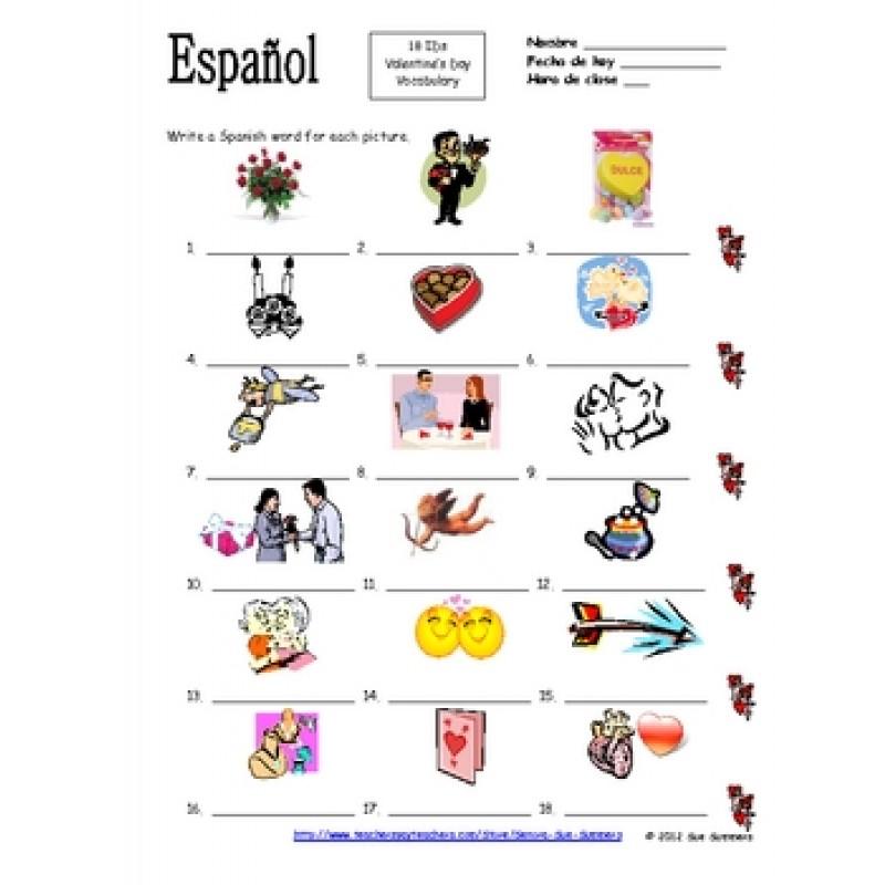 Spanish Valentineu0027s Day Vocabulary IDs Worksheet   El Dia De San Valentin