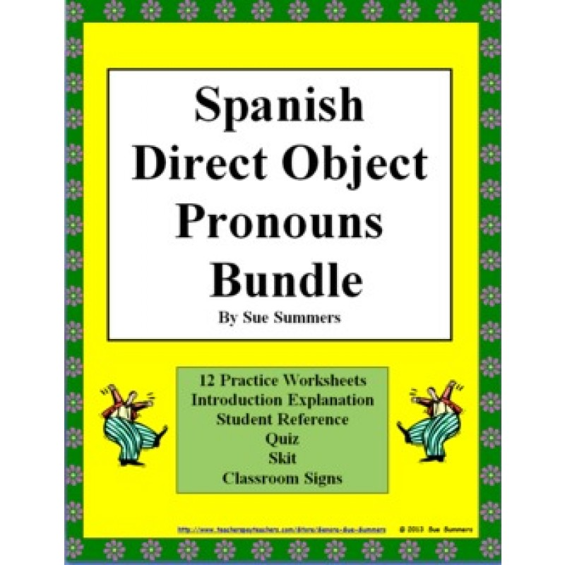 Direct Object Pronouns Bundle Practice Skit Quiz More – Classroom Objects in Spanish Worksheet