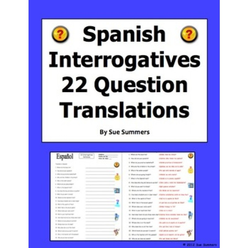 Words Sentences - Spanish Questions Words Worksheet
