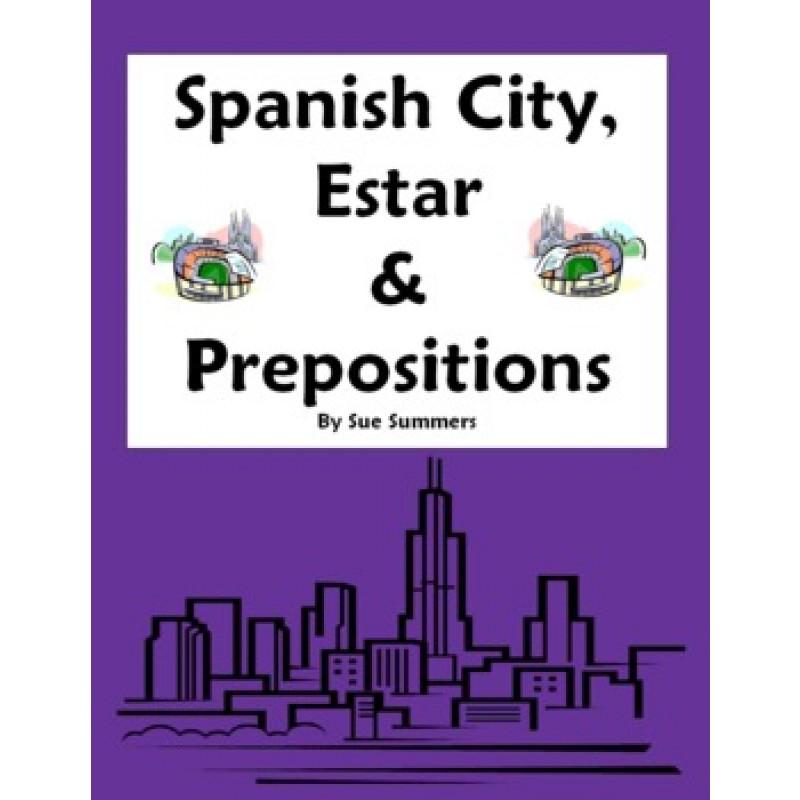 City Vocabulary with Estar Location Prepositions Worksheet – Spanish Prepositions Worksheet