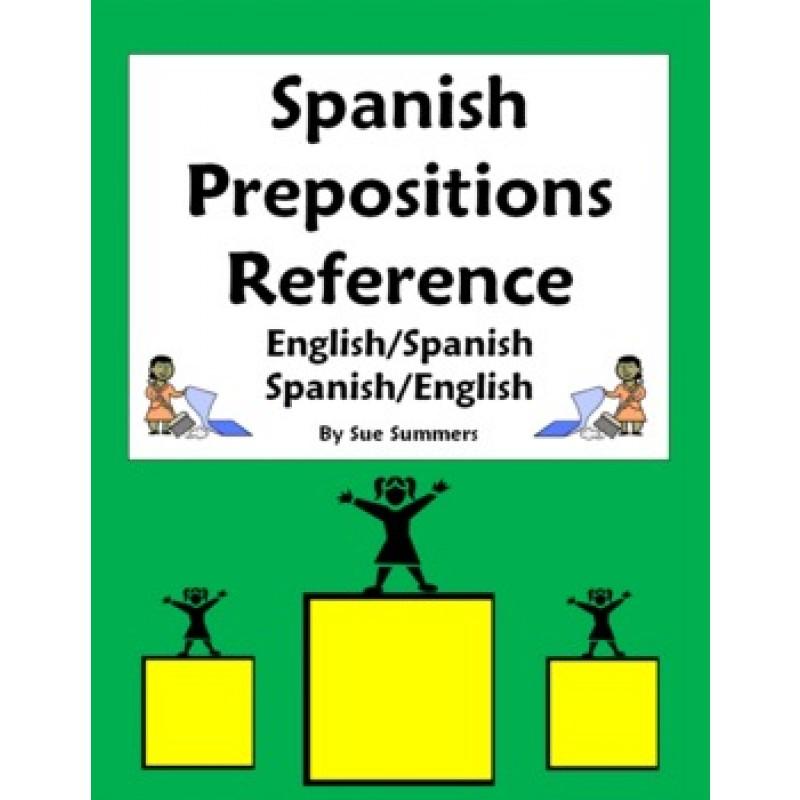 Prepositions of Location Vocabulary Reference Estar – Spanish Prepositions Worksheet