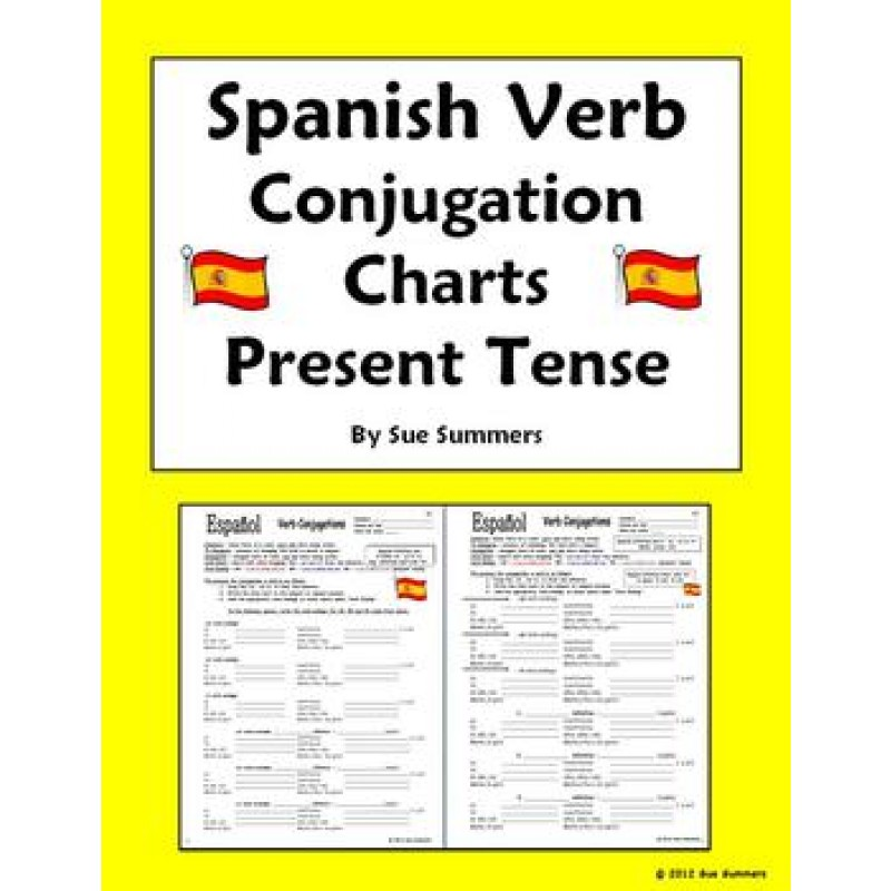 English to spanish conjugation chart pictures to pin on for Table in spanish