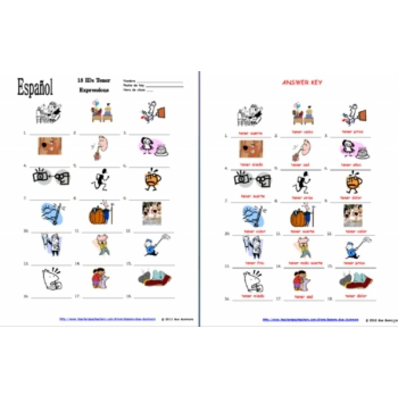 Collection of Tener Expressions Worksheet - Bluegreenish