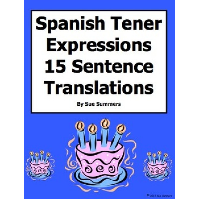 Tener Expressions 15 Translations and 6 Image IDs Worksheet – Tener Expressions Worksheet