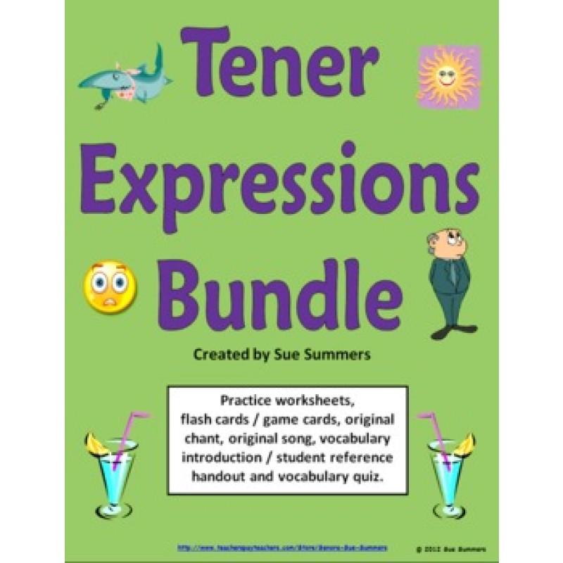 Tener Expressions Bundle 6 Worksheets Quiz Cards and More – Tener Expressions Worksheet