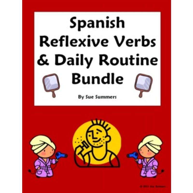 Reflexive Verbs Bundle Vocabulary 9 Worksheets Skit Quiz More – Reflexive Verbs Worksheet
